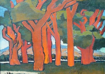 Trees in the Valley-1939 Oil-Milford Zornes