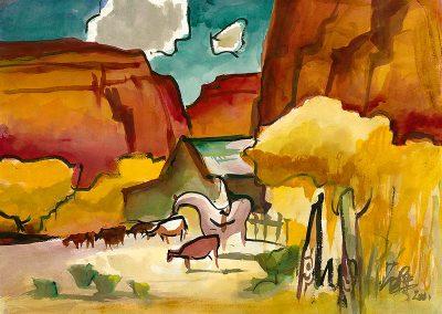 Milford Zornes-Untitled, Utah, 2001