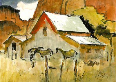 Milford Zornes-Utah Barn, 1997