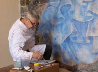 iLia Anossov working on the restoration of the fresco.