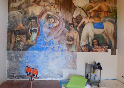 The fresco in the midst of prepping for restoration.